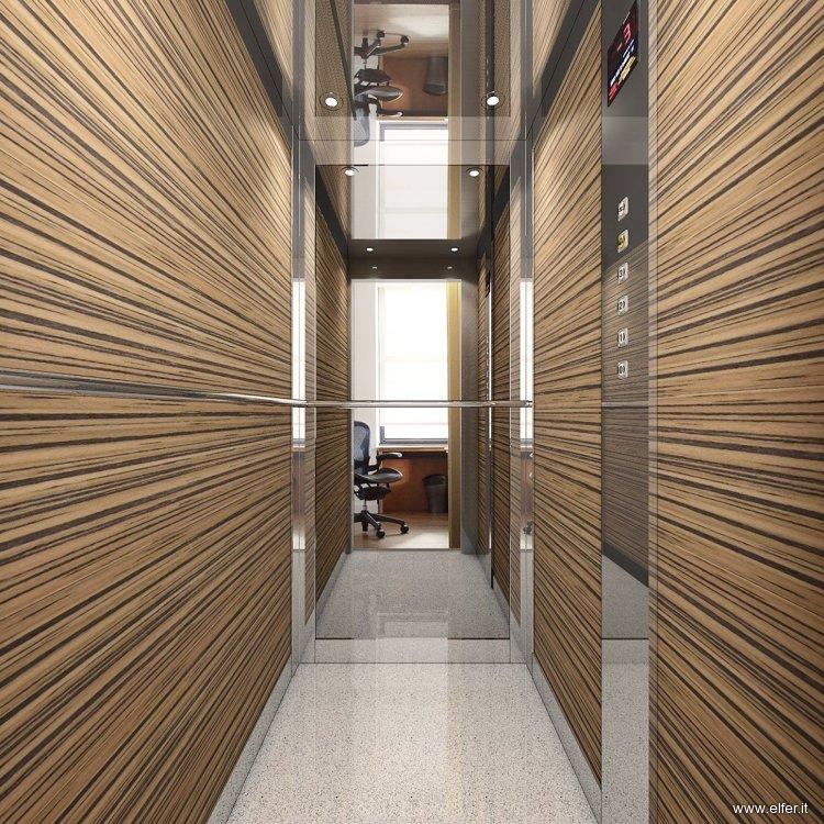 Cabina per ascensore asimmetrica elfer for Cabine di legno di whitetail